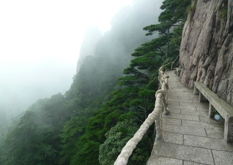 Narrow-walkway-on-side-of-mountain-in-fog